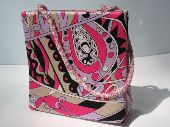RESERVED Swee Lo Handbag Purse - Groovy Hot Pink Pucci-esque Print w/ Beaded Handles