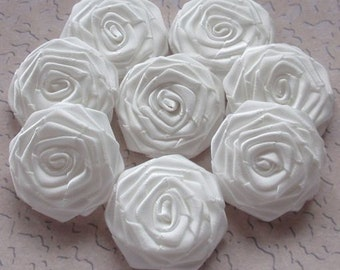8 Handmade Ribbon Roses (1-1/2 inches) In Off White MY-028-01 Ready to Ship
