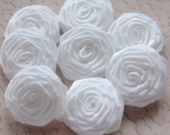 8 Handmade Ribbon Roses (1-1/2 inches) In White MY-028-05 Ready to Ship