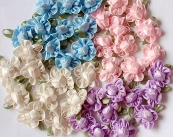 40 Handmade Ribbon Flowers  MY-042- 02 Ready To Ship