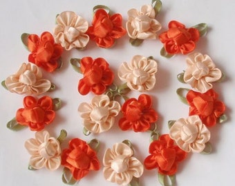 20 Handmade Flowers In Orange, Petal Peach MY-042- 04 Ready To Ship