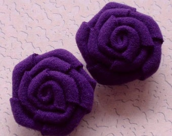 2 Handmade Ribbon Roses (2 inches) In Purple MY-019 -05 Ready To Ship