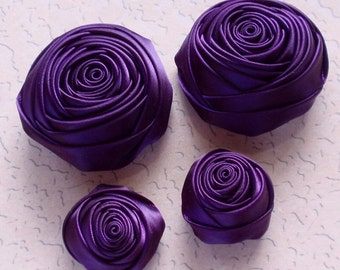 4 Handmade Rolled Roses (2 inches,1-1/4 inch) in Plum  MY-060-46 Ready To Ship