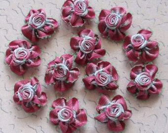 12 Small Handmade Ribbon Roses (1 inches) MY-064-A Ready To Ship