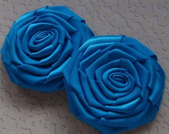 4 Handmade Ribbon Roses (2-3/4 inches) in Aegean Blue MY-090-58 Ready To Ship
