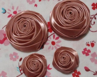 4 Handmade Rolled Roses (2 inches,1-1/4 inch) in Sweet Nectar MY-060-25 Ready To Ship