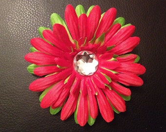 Red and Green Holiday Gerber Daisy Hair Clip