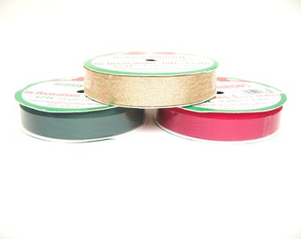 Ribbon Spools in Red, Green and Gold