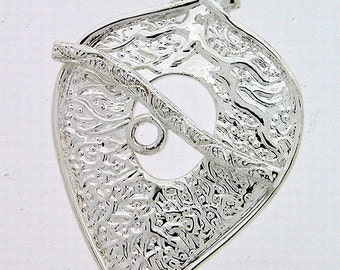 Sterling Silver Leaf Toggle Clasp