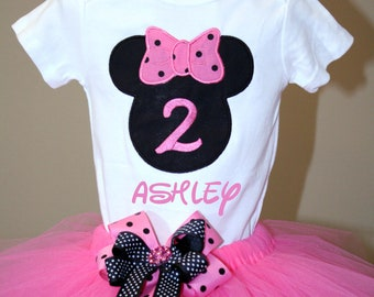 Minnie Mouse Inspired Birthday Onesie and Tutu