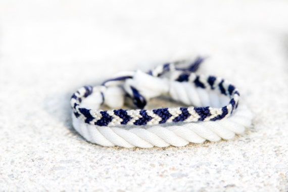 Ivory and Navy Asymmetrical Chevron Adjustable Bracelet