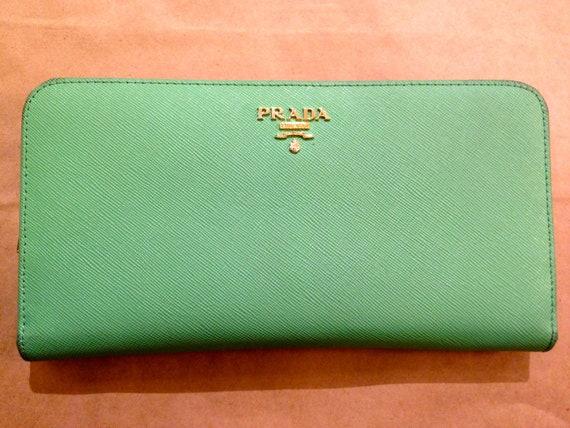 prada blue saffiano - prada green wallet