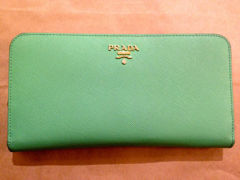 prada nylon and leather tote - Vintage Sea Foam Green Leather Prada Wallet/FREE by originalonline