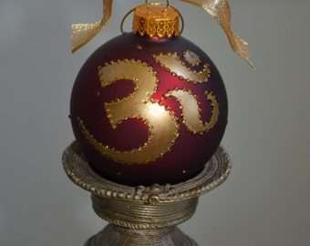 Hand Painted Ohm Red Ornament with Golden Ohm Symbol