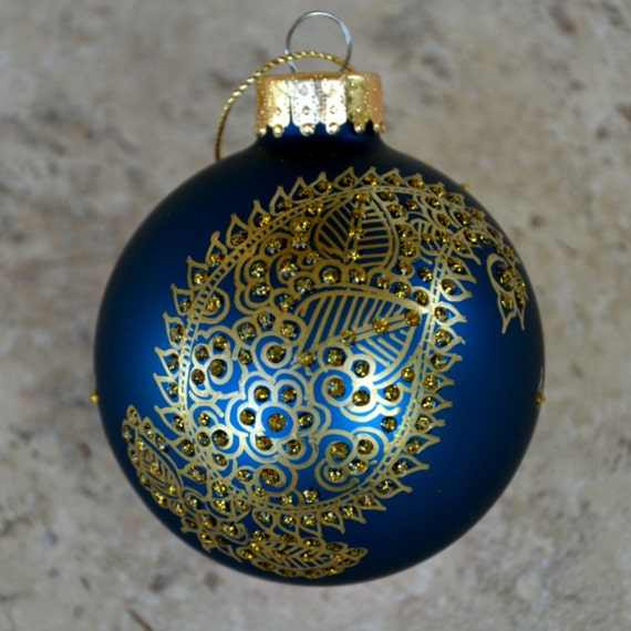 Paisely, Blue Ornament Ball with Gold Paisley