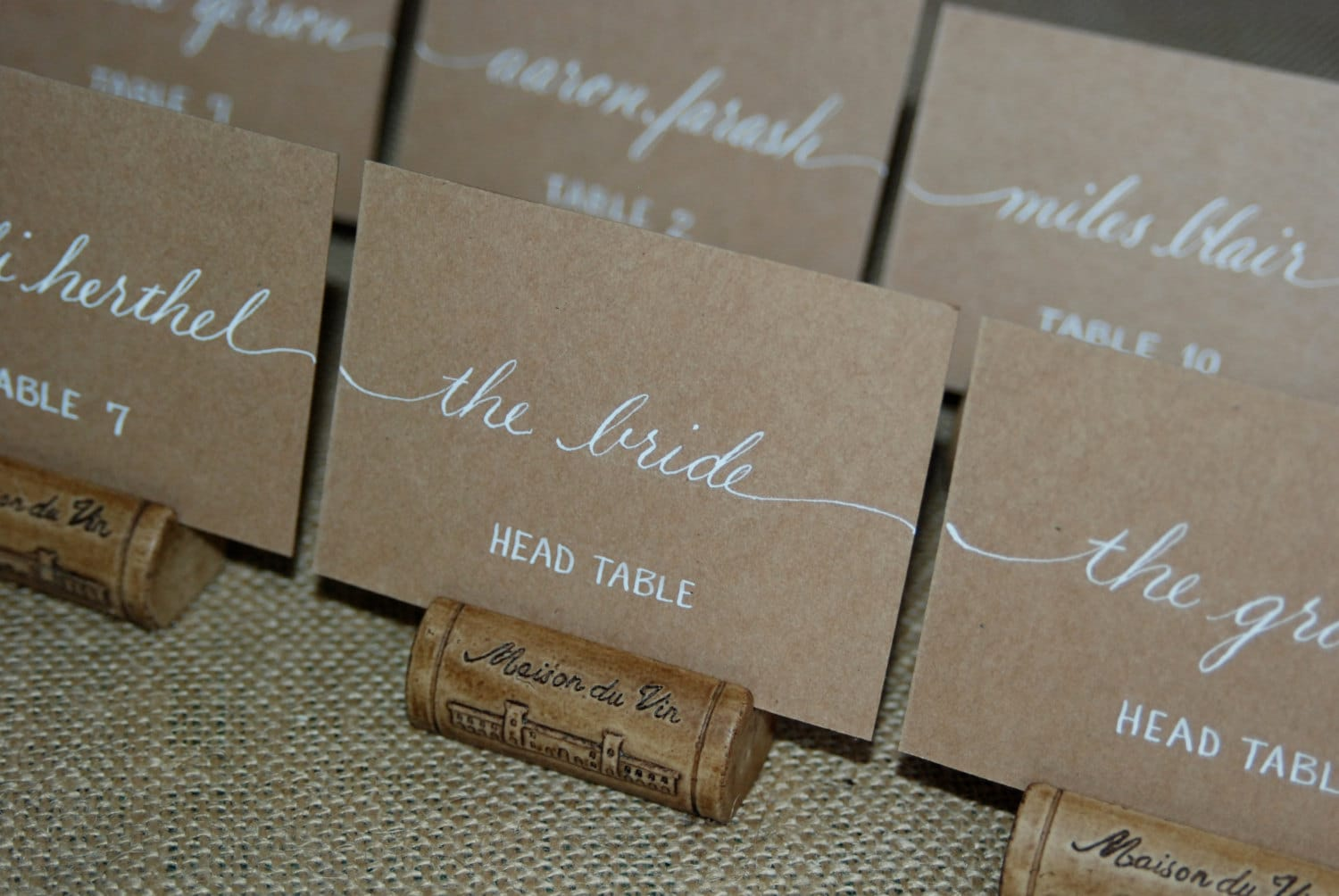 Escort cards wedding name place cards table cards custom for Wedding place name cards