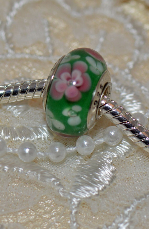 Murano Glass Bead Handmade for European Style Bracelets Sterling Silver Core Green with Pink and White Flowers