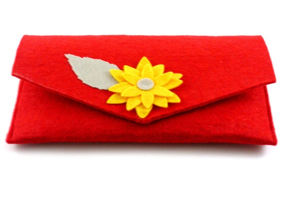 Felt clutch with flowers and leaves,  red, yellow, grey, handbag, for cosmetics, pencilcases, cellphones. Magnetic Steel clips for closing