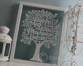 Personalised Family Tree Paper cut Unframed