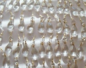 50 Asfour Teardrop 38mm Chandelier Crystals Prisms Clear Almonds Lead Crystal