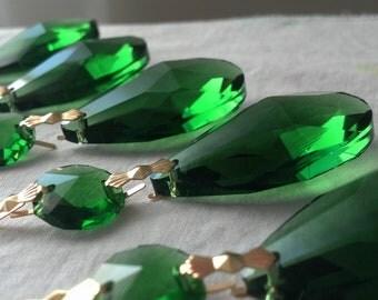 5 Green Teardrop Chandelier Crystals 38mm