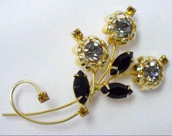 Vintage Black Navette Smoky Gray Rhinestone Floral Spray Brooch Pin