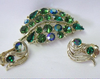 Vintage LISNER Blue and Green AB Rhinestone Brooch Pin Earring Demi Parure Set