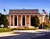 painting print art -Town Hall - Framingham, MA - USA