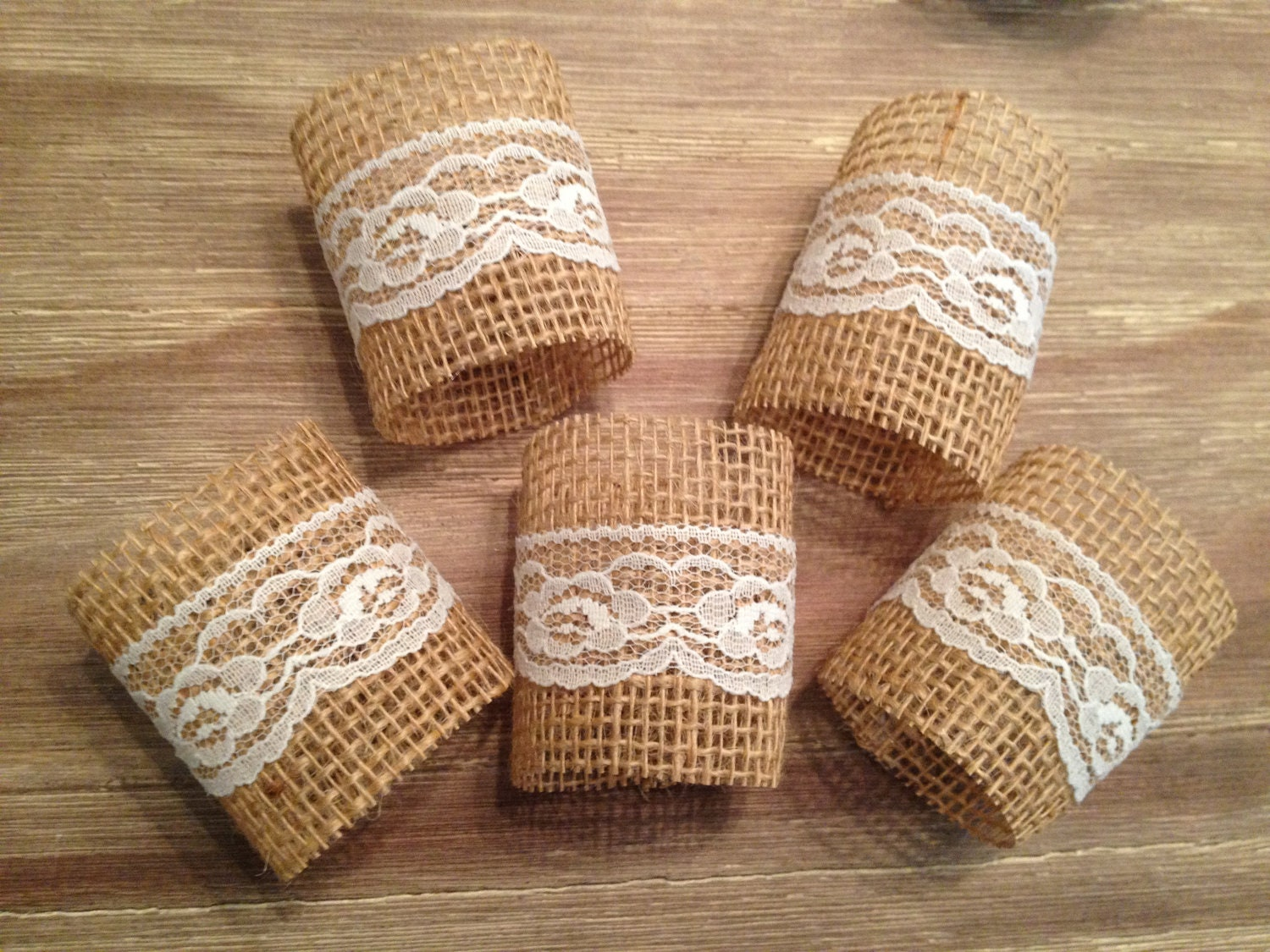 Items similar to Lace/Burlap napkin rings- MADE TO ORDER ...