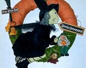 Halloween Wreath, Wreaths for the Door, Broom Hilda Wreath, ACOFT