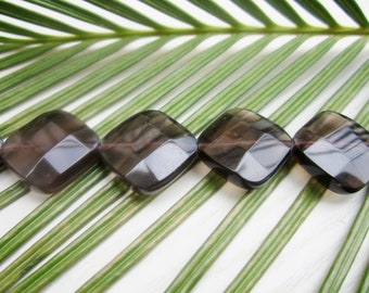 Natural Smoky Quartz Square Diamonds - Faceted 18mm - 10 Pcs