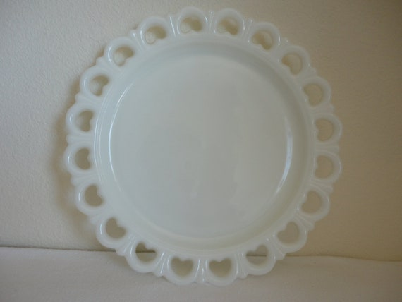 Vintage Reticulated Milk Glass Platter