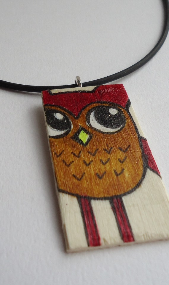 Adorable hand painted woodland owl, wood pendant, ooak art, blonde wood, brown and tan, kawaii, cute owls