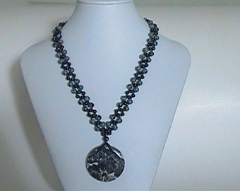 Black and Gray Variegated Crossweave Beaded Necklace