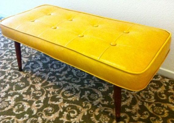 BABCOCK PHILLIPS Eames era marbled yellow naugahyde vinyl bonded tufted lounge chair bench ottoman RARE