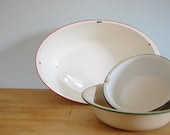 set of three vintage enamel bowls