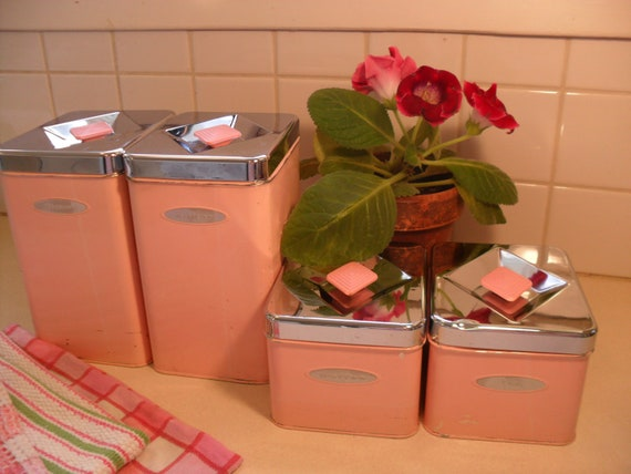 vintage pink masterware kitchen canister set