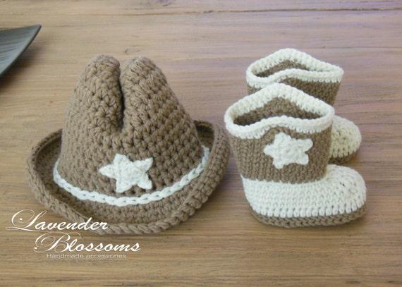 Crochet Baby Cowboy Set Pattern : Cowboy Boots and hat Crochet Baby Set Cowboy photo prop