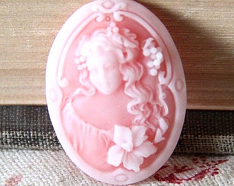 6pcs of resin cameo 18x25mm0RC0145-Pink