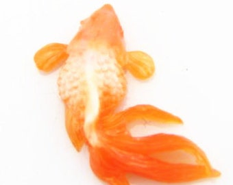 4 pcs of gold fish resin cabochon 13x24mm-0892-orange white swirl