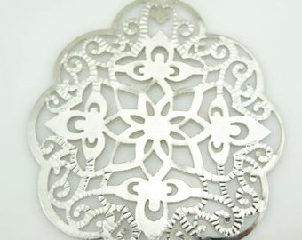 12 pcs of Iron filigree -48x57mm-1530-silver