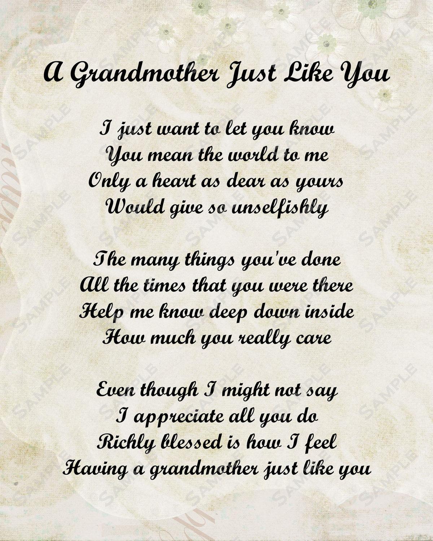 Love Grandma Poems Grandmother Poem Love Poem 1200 X 1500 Condolence