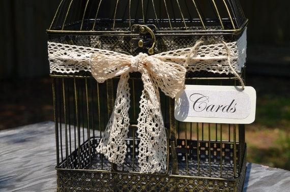 Large romantic birdcage/ wedding card holder / lace / doily / crochet ribbon