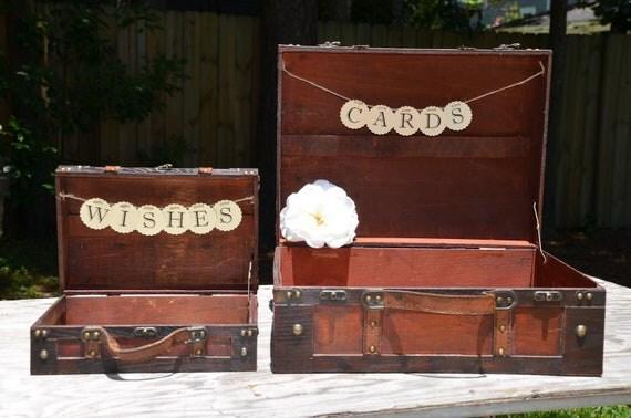 Wedding suitcase set, card holder & wishes, banner sign