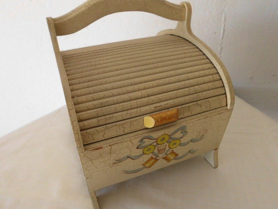 Vintage roll top sewing chest storage  shabby chic