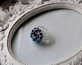 Autumn SALE REDUCED PRICE Blue and Clear Beaded Ring