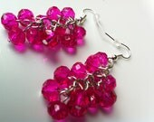 Hot Pink Cluster Swarovsky Crystal Earrings