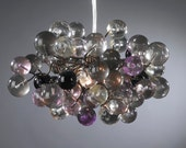 Pendant lighting. Grey and purple shades of bubbles.