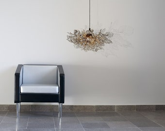 Lighting hanging Chandeliers with clear Natural flowers and leaves for living room, children room
