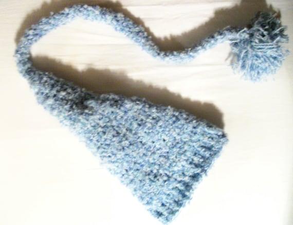 Crochet Baby Elf Hat baby blue and white newborn size